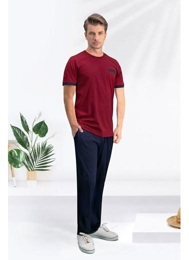 Arnetta Arnetta Pointed Saks Mavi Erkek Pijama Takımı Kırmızı